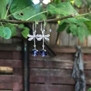 Silver Dragonfly and Purple Glass Earrings